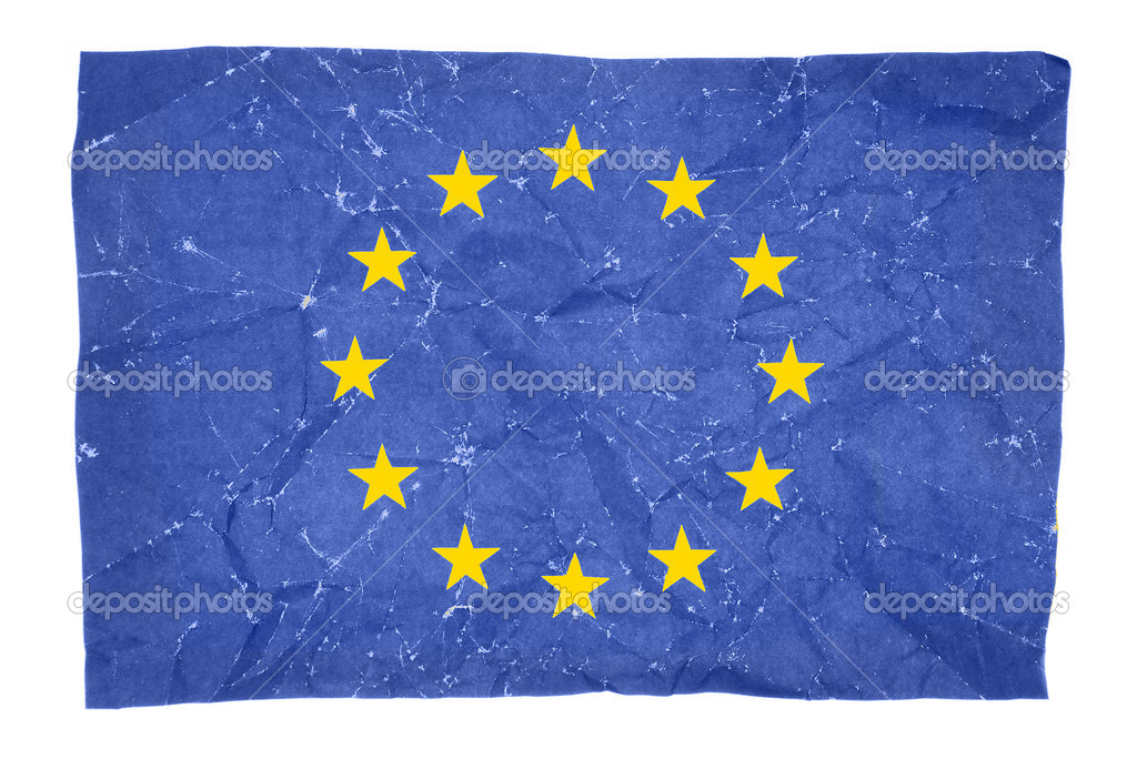Wrinkled flag of European Union isolated on white background — Stock Photo #13314156
