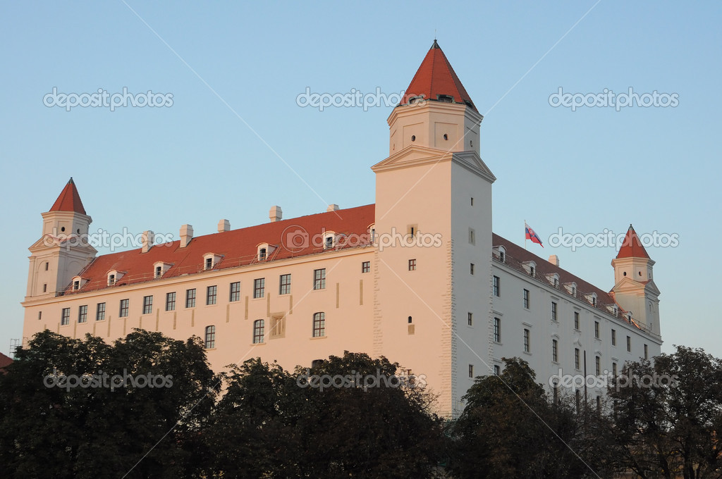 White Bratislava castle (slovak: Bratislavsky hrad) detail photo. Slovakia  Stock Photo #13314318