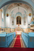 Blue church interior — Stock Photo