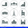 European Capitals - Icon Set (Part 1) — Stok Vektör