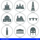 European Capitals - Icon Set (Part 5) — Stock Vector