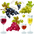 Grapes with wine glass — Stock Vector
