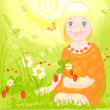 Girl on meadow — Stock Vector