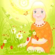 Royalty-Free Stock Vector Image: Girl on meadow