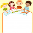 Children with pencils and rulers — Stock Vector
