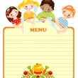 Stock Vector: Kids with spoons.menu