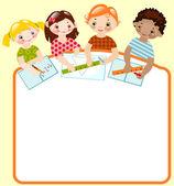 Dzieci z kredkami i władców — Wektor stockowy
