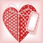 corazón bordado — Vector de stock