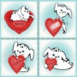 Puppies with a heart — Stock Vector