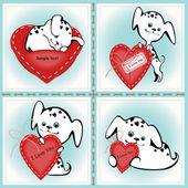 Cachorros con un corazón — Vector de stock