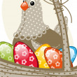 Chicken and egg Easter — Stock Vector