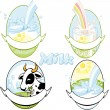 Stock Vector: Milk labels