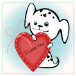 Puppies with a heart - Stock Vector