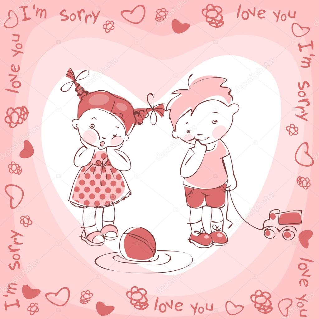 Painted postcard with children. Sorry, I love you — Stock Vector #21255239