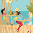 Girls on the background of a tropical landscape — Stock Vector