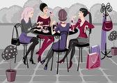Girls in cafe — Stock Vector