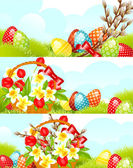 Set easter banner — Stock Vector