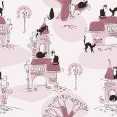 Wallpaper. cat walking — Stock Vector