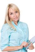 Kvinnliga läkare med kapslar i förpackning — Stockfoto