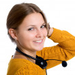 Young beautiful woman,call center worker — Foto Stock