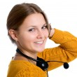 Young beautiful woman,call center worker — Stok fotoğraf