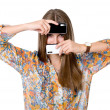 The girl with two mobile phones — Stockfoto