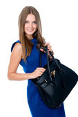 Beautiful business woman with handbag — Stock Photo