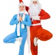 Santa Claus and the Snow Maiden of yoga. — Stock Photo