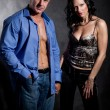 Muscular handsome sexy man with pretty woman - Stock Photo