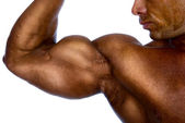 Close up of man's arm showing biceps — Stock Photo