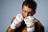 Kick-boxer training before fight — Stock Photo