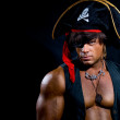 Portrait of a muscular pirate — Stock Photo