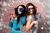 Two girls in the big fancy glasses — Stock Photo