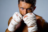 Close-up portrait of a kick-boxer in a fighting stance — Stock Photo