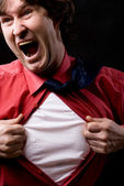 Furious businessman rips his shirt — Stock Photo