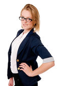 Portrait of unhappy business girl with glasses. — Stock Photo