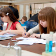 Students at work in the laboratory of chemistry — Stock Photo #23077158