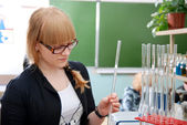 Student with glasses in laboratory — Stock Photo