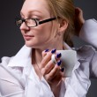 Business woman with a cup of coffee  — Stock Photo