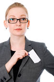 Portrait of business woman in glasses with a credit card — Stock Photo