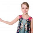 Young woman with her hand outstretched — Stock Photo
