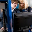Two students in front of the monitor in the workshops — Stock Photo