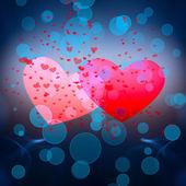 Dos corazones rojos sobre fondo azul. — Foto de Stock