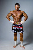 An experienced fighter kickboxer. — Stock Photo