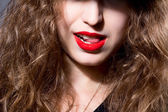 Closeup face of a beautiful girl with red lips — Stock Photo