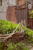 Wicker fence for plants — Stock Photo