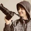 Paparazzi mtaking picture with photo DSLR digital camera — Stock Photo #40013595