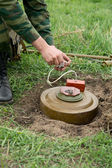 Minesweeper is preparing for a mine detonator — Stock Photo