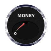 Money meter reading zero — Stock Photo