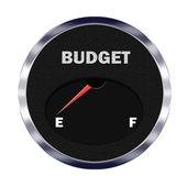 Budget meter reading empty — Stock Photo